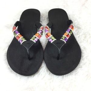 Pali Hawaii Black Jeweled Flip Flop Sandals 9
